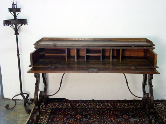 Spanish Colonial Fold Open Writing Desk Front