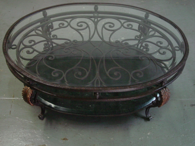 Wrought Iron Bronze Coffee Table With Marble And Glass