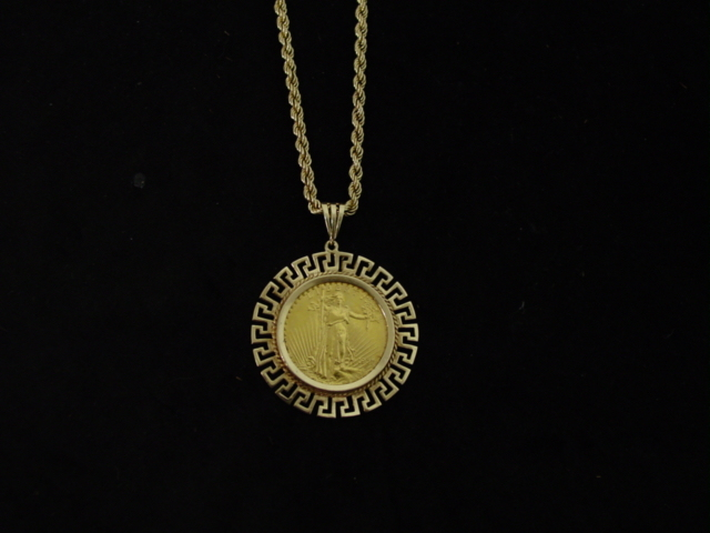Dollar gold coin pendant and rope necklace 20 dollar gold coin pendant and rope necklace mozeypictures Images