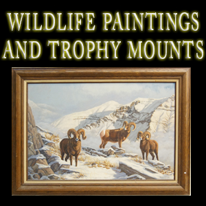 wildlife paintings and trophy mounts